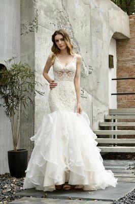 Tulle Lace Sleeveless Sexy Mermaid Wedding Dress_1