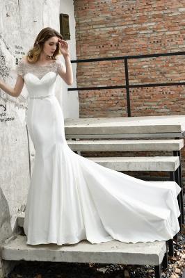 Cheap Short Sleeveless Lace Mermaid White wedding dresses_6