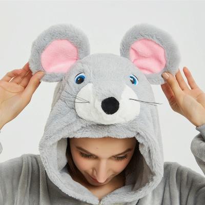 Cute Animal Pyjamas for Women Mouse Onesies, Grey_19