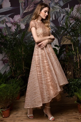 Champagne High Neck Short Sleeve Sequined A Line Prom Dress   Tea Length Ruffles Evening Gown_4