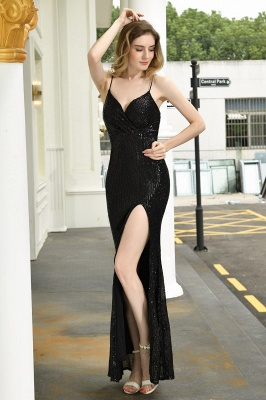 Black Spaghetti Strap V Neck Sequined Front Slit Floor Length Sheath Prom Dresses | Backless Evening Gown_6