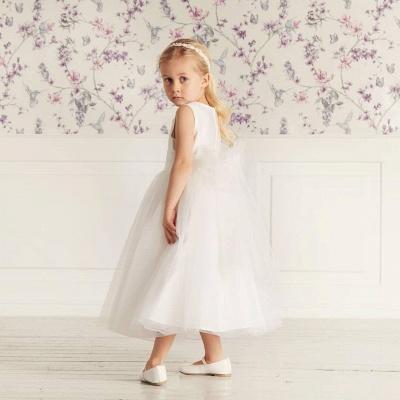 Simple Jewel Sleeveless Beaded Tulle Flower Girl Dresses | Wedding Dress for Girls_2