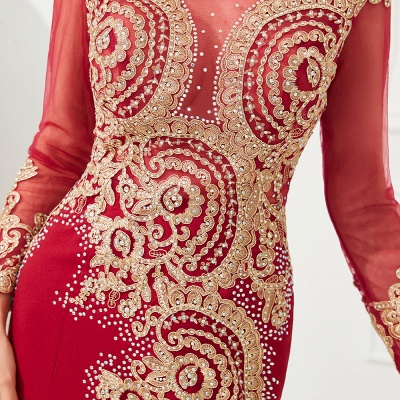 Gorgeous Form-fitting Long Sleeves Floor Length Prom Dresses | Long Beaded Evening Dresses_16