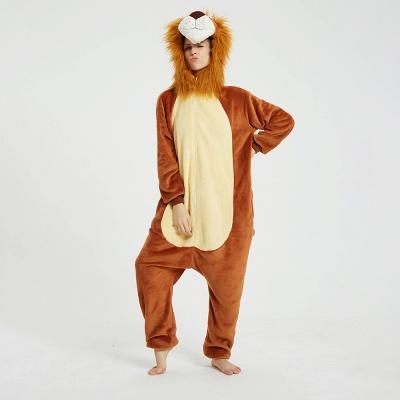 Cute Animal Pyjamas for Women Lion Onesies, Brown_16