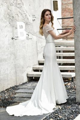 Cheap Short Sleeveless Lace Mermaid White wedding dresses_13