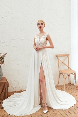 Jewel Cap Sleeves Sheer Sweep Train A-line Appliques Chiffon Wedding Dresses_3