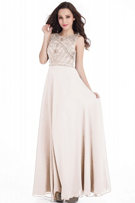Sheath Jewel Crystals Floor Length Long Chiffon Cheap Prom Dresses_1