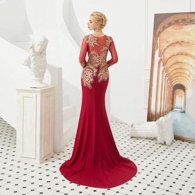 Gorgeous Form-fitting Long Sleeves Floor Length Prom Dresses | Long Beaded Evening Dresses_3