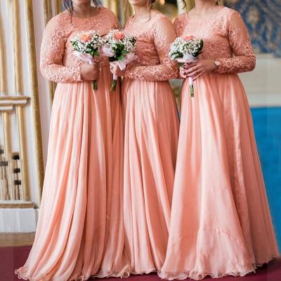 Jewel Long Sleeves Floor Length Sexy Lace Chiffon Bridesmaid Dresses_1