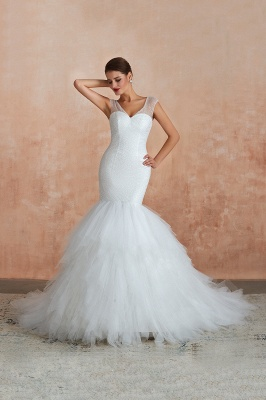 Floor Length V-neck Cap Sleeves Sexy Mermaid Wedding Dresses | Affordable Bridal Gown_4