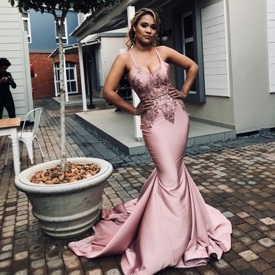 Spaghetti Straps Appliques Sexy Mermaid Prom Dresses | African Style Prom Dresses_3
