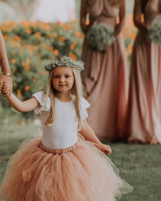 Lovely Jewel Short Sleeves Floor Length Ball Gown Tulle Flower Girl Dresses_2