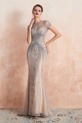 Cap Sleeves Keyhole Jewel Gorgeous Beaded Long Prom Dresses | Elegant Long Evening Dresses_6