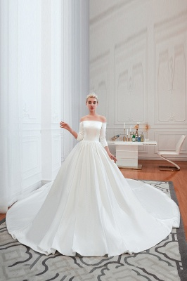 Gorgeous Off the Shoulder Half Sleeves Floor Length A-line Satin Wedding Dresses_8