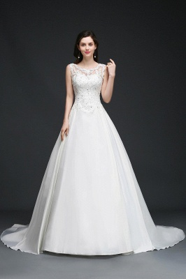 A-line Sweep Train Elegant Wedding Dress With Beading_1