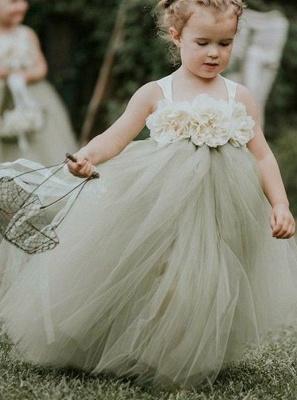 Lovely Straps Ball Gown Tulle Flower Girl Dresses with handmade Flowers_2