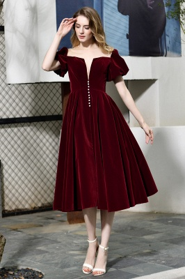 Burgundy Flare Sleeve Deep V Neck Tea Length A Line Prom Dresses | Ruffles Evening Dresses_3