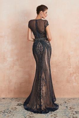 Cap Sleeves Keyhole Jewel Gorgeous Beaded Long Prom Dresses | Elegant Long Evening Dresses_18