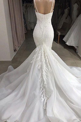 Spaghetti Straps Sweetheart Lace Mermaid Wedding Dresses | Fit and Flare Bridal Gowns_3