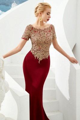 Bateau Short Sleeves Applique Fitted Long Prom Dresses | Burgundy Evening Dresses_4