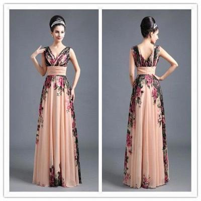 A-Line Chiffon Printed Ruffles Evening Dress On Sale_3