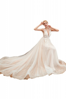 Round Neckline Sleeveless A-line Lace Up Sweep Train Lace Appliques Wedding Dresses_1