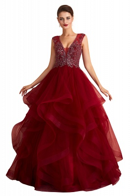 Sleeveless V-neck Sexy Long Tiered Beaded Prom Dresses | Elegant Organza Long Evening Dresses_1