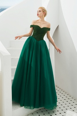 Off the Shoulder Sweetheart Jade A-line Long Prom Dresses | Elegant Evening Dresses Cheap_7