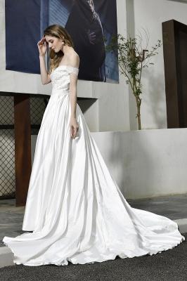 Elegant Appliques Off the Shoulder Sweetheart Lace Wedding Dresses_9