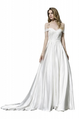 Cheap A Line Off the Shoulder Lace Satin White Wedding Gowns_1