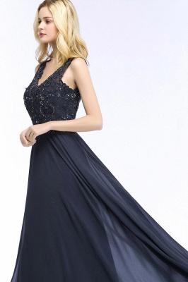 Straps V Neck  Applique Crystal Sequin Floor Length A Line Prom Dresses_54