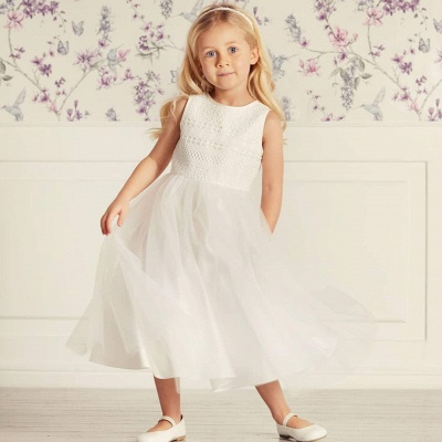 Jewel Sleeveless Tea Length Lace Tulle Flower Girl Dresses | Dress for Flower Girls_4