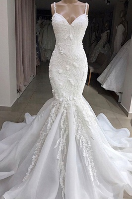 Spaghetti Straps Sweetheart Lace Mermaid Wedding Dresses | Fit and Flare Bridal Gowns_1