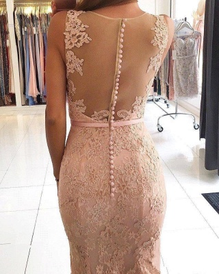Sexy Lace Long Pink Mermaid Evening Dresses_3