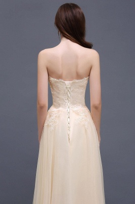 Princess Lace-Appliques Strapless Floor-Length Champagne  Evening Dress_4