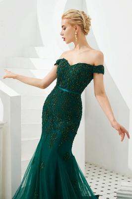 Gorgeous Off the Shoulder Jade Long Mermaid Prom Dresses | Floor Length Evening Dresses_8