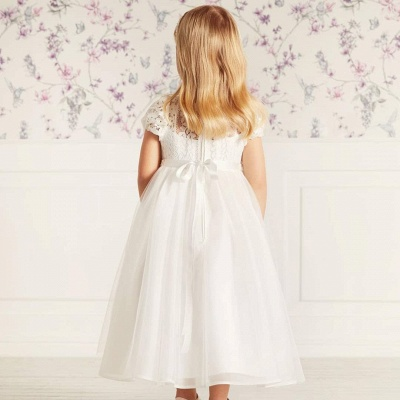Cute Jewel Puffy Sleeves Ribbon Belt A-line Lace Tulle Flower Girl Dresses_2