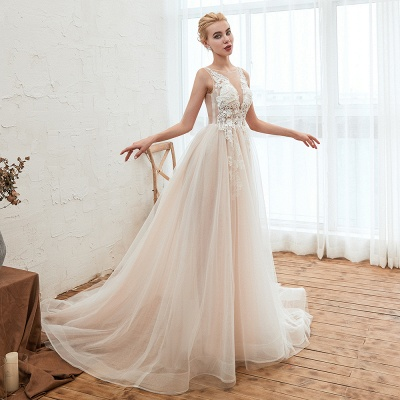 Round Neckline Sleeveless A-line Lace Up Sweep Train Lace Appliques Wedding Dresses_12