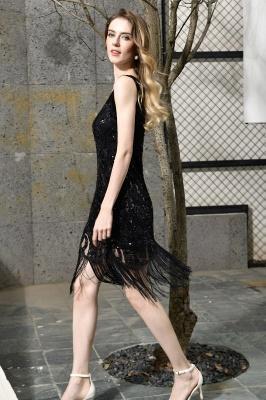 Black Straps V Neck Applique Lace Sequined Sheath Homecoming Dresses_4
