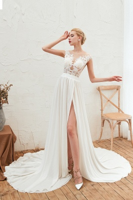 Jewel Cap Sleeves Sheer Sweep Train A-line Appliques Chiffon Wedding Dresses_6