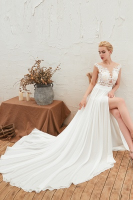 Jewel Cap Sleeves Sheer Sweep Train A-line Appliques Chiffon Wedding Dresses_10