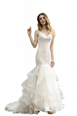 Cheap Floor Length Mermiad Sweetheart Lace Wedding Dresses_3
