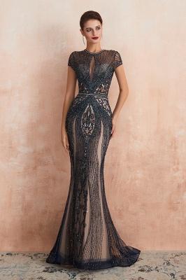 Cap Sleeves Keyhole Jewel Gorgeous Beaded Long Prom Dresses | Elegant Long Evening Dresses_14