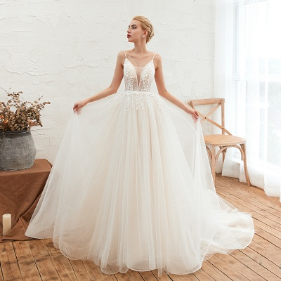 Elegant Spaghetti Straps Lace Up A-line Floor Length Lace Tulle Wedding Dresses_8