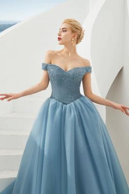 Off the Shoulder Sweetheart Jade A-line Long Prom Dresses | Elegant Evening Dresses_21
