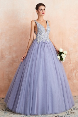 Straps V-neck Sexy Applique Long Prom Dresses   Glamorous Puffy Evening Dresses_5