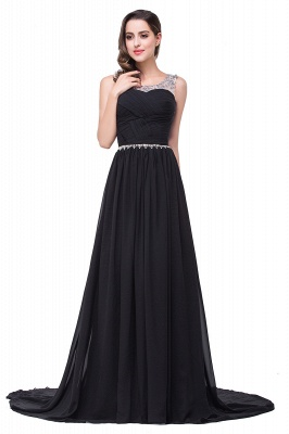 A-line Court Train Chiffon Cheap Party Dress With  Beading_5