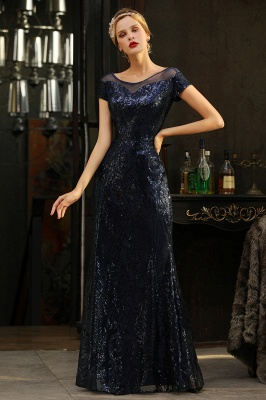Bateau Short Sleeves Long Sequins Prom Dresses   Floor Length Fitted Evening Dresses_7