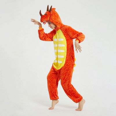 Adorable Adult Pyjamas for Women Triceratops Onesie, Orange_13