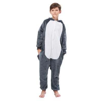 Cute Animal Pyjamas for Boys Huskie Onesie, Dark Grey_6